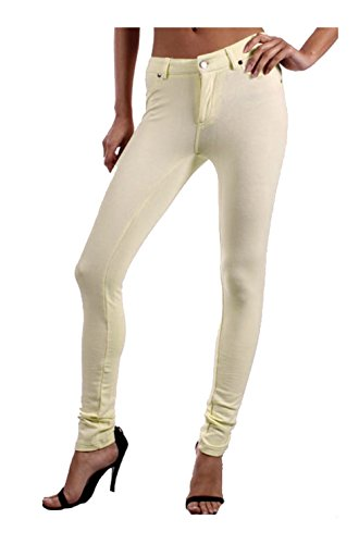 2LUV Women's Low Rise Ponte Stretch Skinny Pants Yellow M Peaches Low Rise Pants