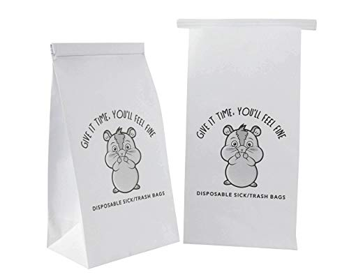 50 vomit bags. Disposable leak resistant sick / barf bags with a cute emoji. Bulk vomiting / throw up bags for car sick kids, airline travel motion & morning sickness, Uber/Lyft drivers, pregnancy
