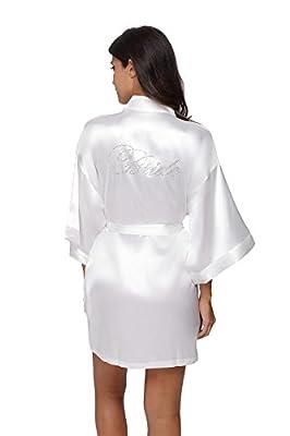 Kimono Outlet Short Bridesmaids Kimono Robe with Rhinestones