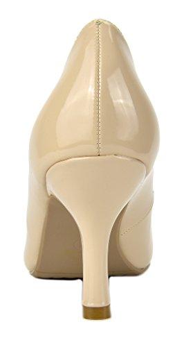Paires De Rêve Femmes Comodo Bas Talon Chaussures De Pompe Stiletto Nude Pat