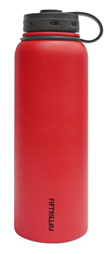 Fifty/Fifty Red Vacuum-Insulated Stainless Steel