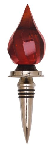 Red,Drop Wine Stopper,Metal and Glass,1.5x1.5x6.5 Inches