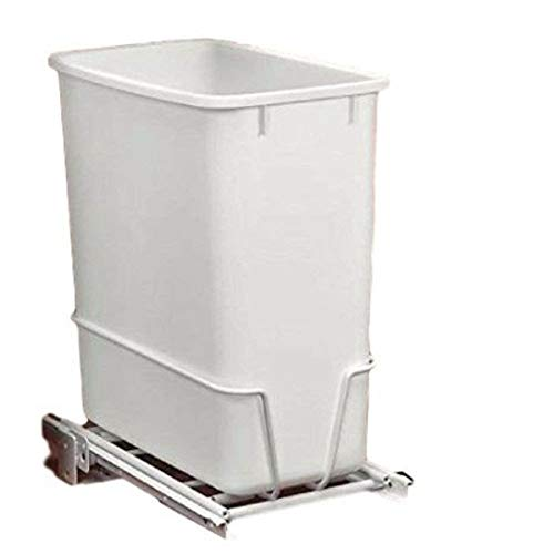 GT Tilt Out Trash Bin Under Cabinet Trash Can Kitchen Waste Bin Slide Out Plastic Metal Pull Out White Rectangular Container & Ebook By Easy2Find