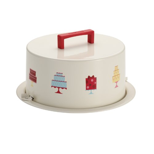 Cake Boss Serveware Metal Cake Carrier,Mini Cakes, Cream