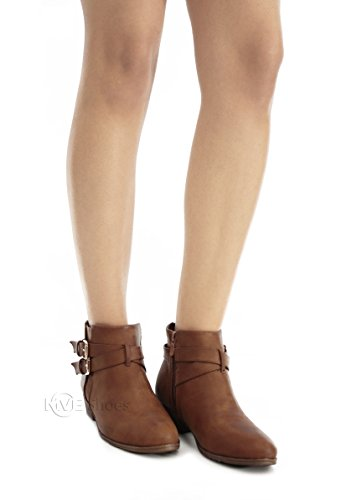 MVE Schuhe Cute Booties - Damen Mandel Toe Strech Slip auf Ankle Boot-Low Heel Tan 1 *