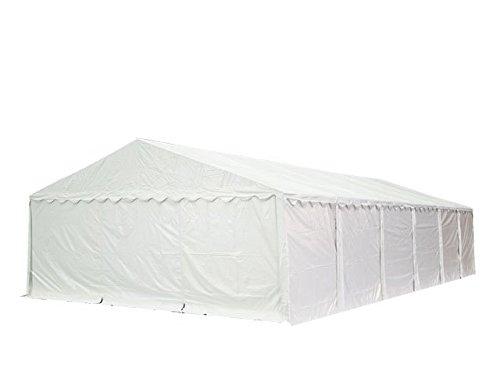 Feuersicheres Lagerzelt mit Bodenrahmen und Dachverstärkung 8x12 m, hochwertige 500g/m² PVC Plane feuersicher nach DIN in weiß, 100% wasserdicht, vollverzinkte Stahlkonstruktion