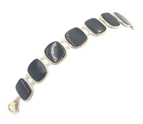 Black Onyx Bracelet with 14k Yellow Gold, 71/2