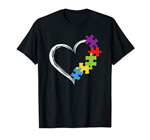 Love Ribbon Heart Puzzle Autism Awareness Gift Shirt -