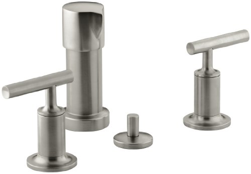 KOHLER K-14431-4-BN Purist Bidet Faucet with Vertical Spray and Cross Handles, Vibrant Brushed Nickel