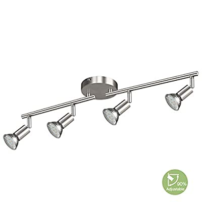 Creyer LED Track Lighting, 6-Light Ceiling Spot Lighting, Flexibly Rotatable Light Head,Modern Light Fixture Wall Accent Spotlight, GU10 Socket (Bulbs Not Included)