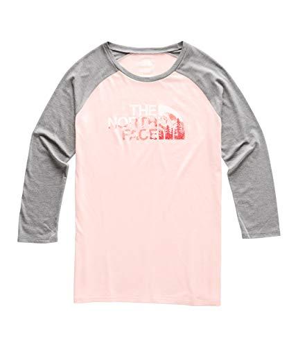 The North Face Women's Heritage ¾ Baseball Tri-Blend Tee, Pink Salt Heather/TNF Medium Grey Heather, Size S