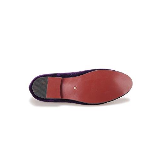 Men's amp;HANN Round Smoking Slipper Slip Loafer Purple Shoes Embroidered Velvet Toes Loafer HI on SfxAWq5Szw