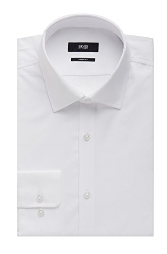 Hugo Boss Nailhead Cotton Dress Shirt, Sharp Fit Marley US (White, 15 x 32/33)