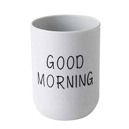 (Gowersdee PP Bathroom Toothbrush Circular Cup Mug Simple Plain Cup Couple Tooth Cup Good Morning (Light Blue))