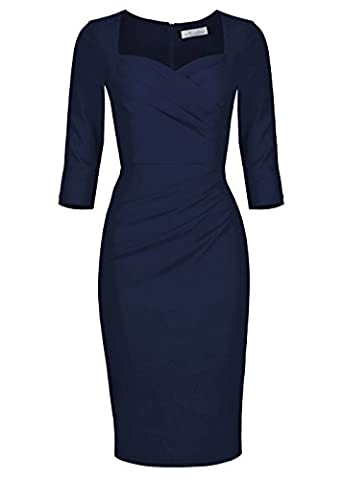Newdow Lady Celebrity Classic Pleated Inspired Pencil Dress (XXL, Navy) - Couture Formal Dresses