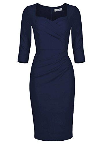 Newdow Lady Celebrity Classic Pleated Inspired Pencil Dress (M, ()