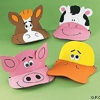 12 visores de animales de granja de espuma - divertidos sombreros de fiesta