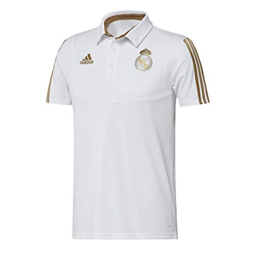 - adidas 2019-2020 Real Madrid Polo Football Soccer T-Shirt Jersey (White)