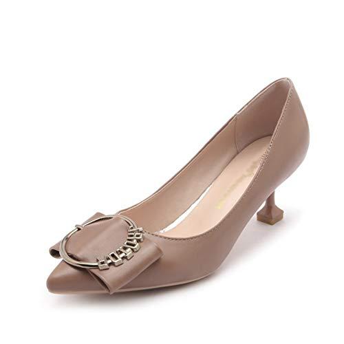Court Shoes Women's Shoes Shoes High Heel Block Heel Pumps Pointed Stiletto Wear-Resistant Metal Buckle Fashion Women's Shoes ZHAOYONGLI (Color : Camel, Size : 34)