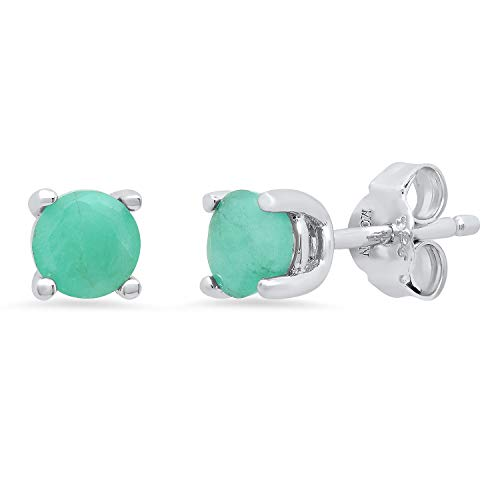Genuine Emerald Prong Set Round Stud Earrings in Sterling Silver (5mm)