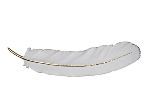 Sagebrook Home 12160-01 Resin Feather Wall Decor, White/Gold Polyresin, 30.75 x 7.5 x 2.25 Inches
