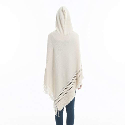 Sefilko Womens Knitted Hooded Poncho Tops Shawl Cape Batwing Blouse With Fringed Sides For Lady (Beige) by Sefilko (Image #5)