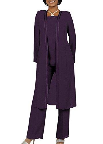 Brides Wedding Suits (Kelaixiang Long Sleeves Mother of The Bride Pant Suits Plus Size 3 Pieces (20 Plus, Plum))
