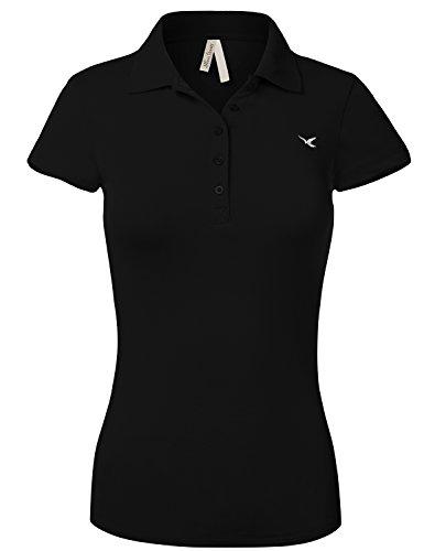 Slim Fit Long Waist Short Sleeve Plain Polo Tee Shirts,102-Black,US L