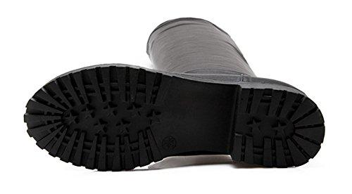 Tige Bottes Femme Aisun Mode Haute Unie Couleur Chaud Noir wgwCzq