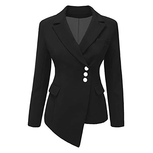Women's Three Button Solid Color Notch Lapel Work Office Blazer Jacket Suit Black