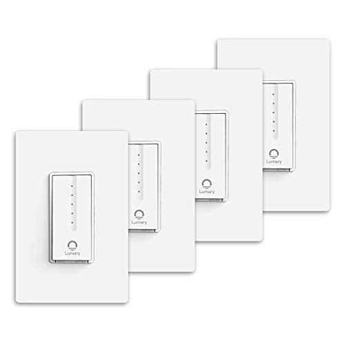 Lumary Smart Wi-Fi Light Dimmer Switch, with Remote Control and App Timer, Compatible with Alexa, Google Assistant, Single-Pole, Neutral Wire Required, ETL & FCC Listed, (No Hub Required) -4 Pack