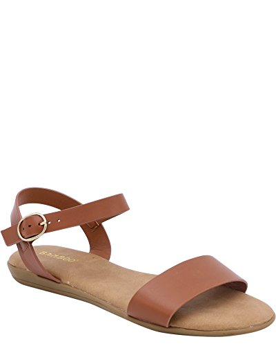 Bamboo Womens Soft Cushioned Sole Sandal (Available in 3 Colors) Tan w132T