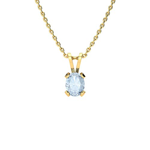 Oval Shape Aquamarine Necklace |Gemstone Necklace | Available in Yellow Gold, Rose Gold and Silver