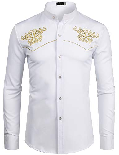 - ZEROYAA Mens Hipster Design Gold Star Embroidery Slim Fit Long Sleeve Mandarin Collar Shirts Tops ZZCL07 White X Large