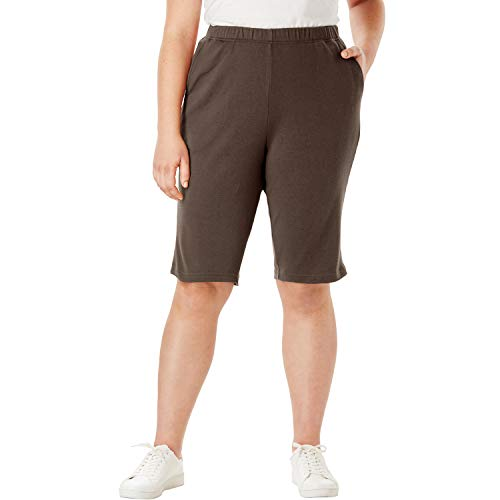 Roamans Women's Plus Size Soft Knit Bermuda Short - Chocolate, 2X