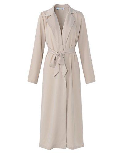 Kidsform Outwear Manteau Femmes Blouson Fashion Chic Beige Trench Veste Blazer Lache Gilet Longue Coat Style Fluide D'hiver Casual BRrqw4B