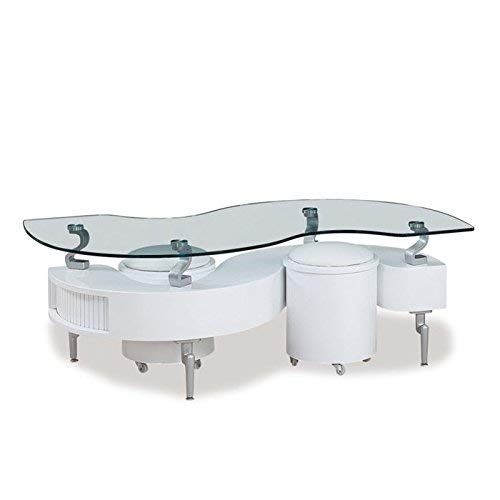 (Global Furniture White Occasional Coffee Table with Silver Legs)