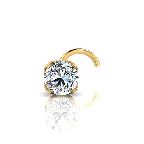 2mm 0.03 Carat Diamond Stud Nose Ring In 14K Yellow Gold
