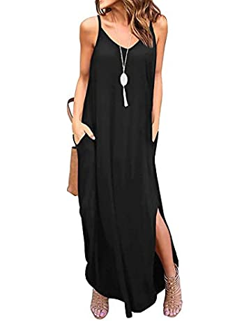 9c4b57136da6 I2CRAZY Women's Summer Casual Loose Dress Beach Cover Up Long Cami Maxi  Dresses with Pocket