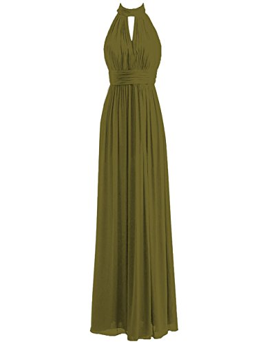 Bridesmaid Dresses Long Prom Dress Chiffon Halter Evening Gowns Pleat Wedding Party Dress Olive S