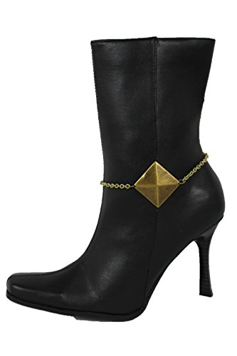 TFJ Women Western Fashion Jewelry Boot Bracelet Vintage Gold Metal Chain Shoe Anklet Pyramid Charm ()