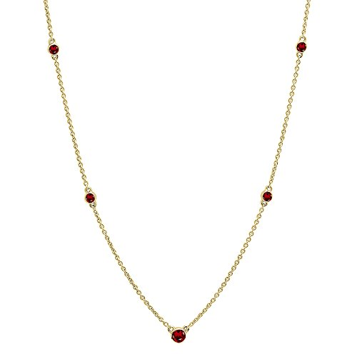 Dazzlingrock Collection 18K Round Garnet Ladies Necklace, Yellow Gold ()