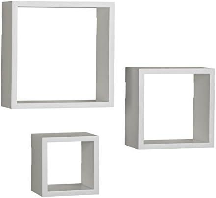 Melannco Floating Wall Mount Square Cube Shelves, set of 3, White – 5140525