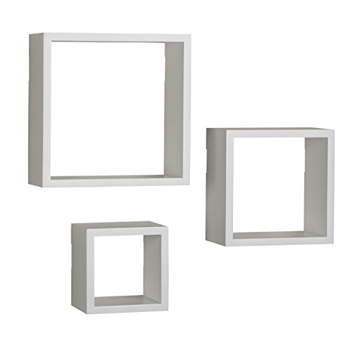 (MELANNCO Floating Wall Mount Square Cube Shelves, Set of 3,)