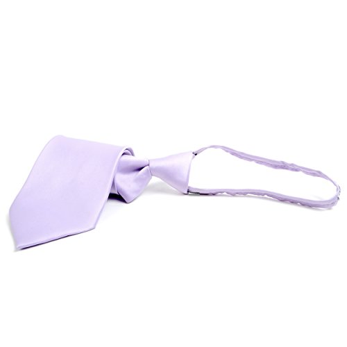 Stylish Solid Color Plain Zipper Tie , - Ties Lavender Polyester