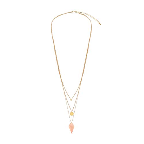 - NIHAI Long Chain Pendant Necklace for Women- Light Pink Diamond Pendant Choker Copper Chain Multi-Layer Necklace Jewelry