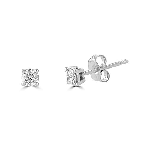 14K White Gold 0.20 Carat Total Weight Round Diamond Stud Earrings for Women (IGL Certified) (White-Gold, 0.20)