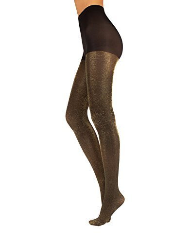 OPAQUE LUREX TIGHTS | WOMAN PANTYHOSE WITH GOLD AND SILVER GLITTER | BLACK | 60 DEN | S/M - L/XL | MADE IN ITALY (S/M, (Lurex Pantyhose)