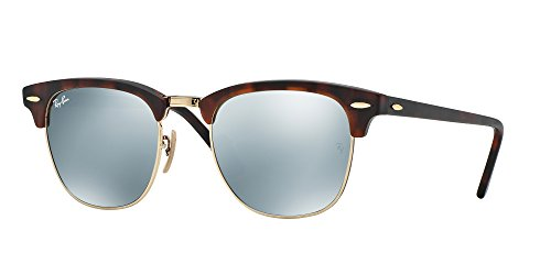 Ray Ban RB3016 CLUBMASTER 114530 51M Sand Havana/Gold/Light Green Mirror Silver Sunglasses For Men For ()