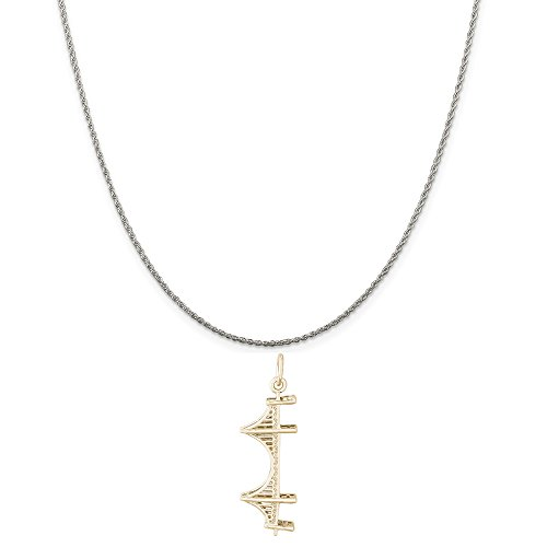 Rembrandt Charms Two-Tone Sterling Silver Cable Golden Gate Bridge Charm on a Sterling Silver Rope Chain Necklace, ()